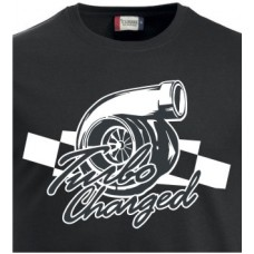 T-shirt Turbo charger logo med text checker